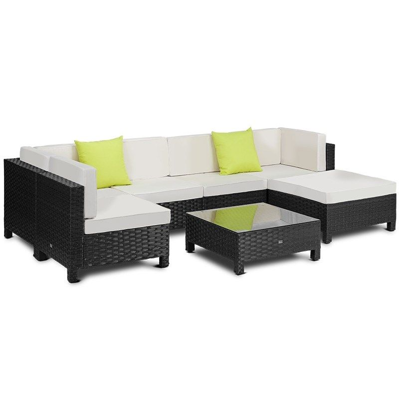London Rattan 7pc Sofa Outdoor Furniture Wicker Lounge Set Setting Pool Outdoor Lounge Set Modular Sofa Rattan Outdoor Furniture