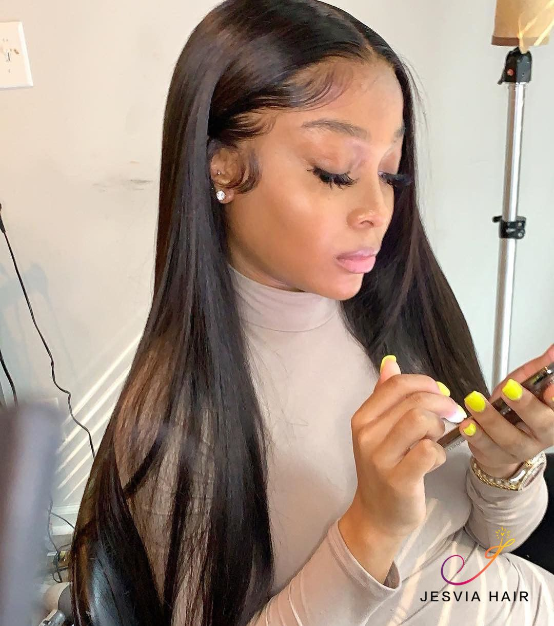 Jesvia Hair Brazilian Straight Hair 3 Bundles With 4x13 Lace Frontal Straight Weave Hairstyles Straight Hairstyles Long Hair Styles