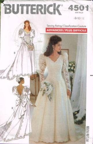 4501 Sewing Pattern Butterick Wedding Bridal Gown w/ Train 8 10 12 ...