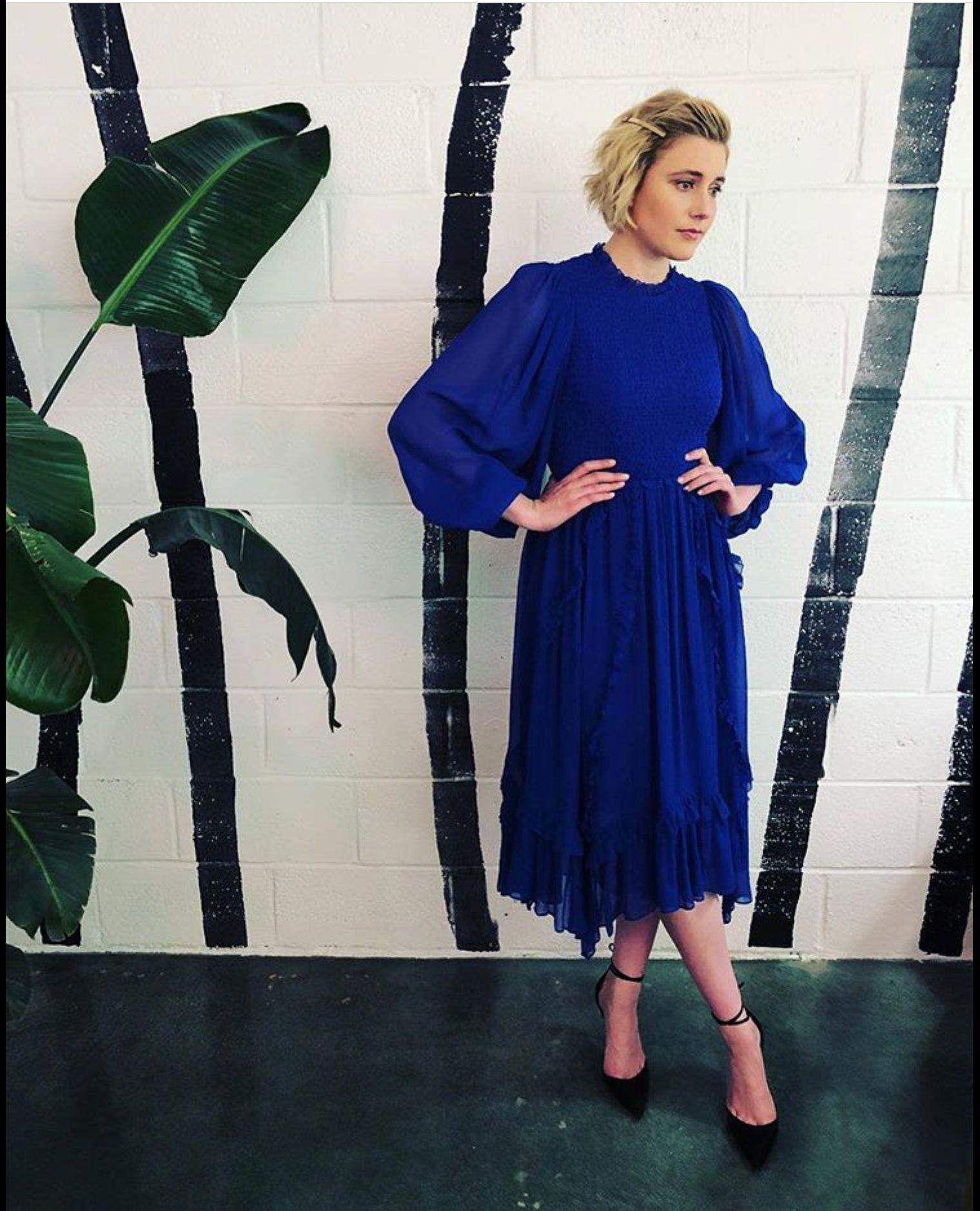 3725529715f Greta wearing the Ulla Johnson  Arielle Dress  from Pre-Fall 2018   ullajohnson  gretagerwig  cobalt  prefall