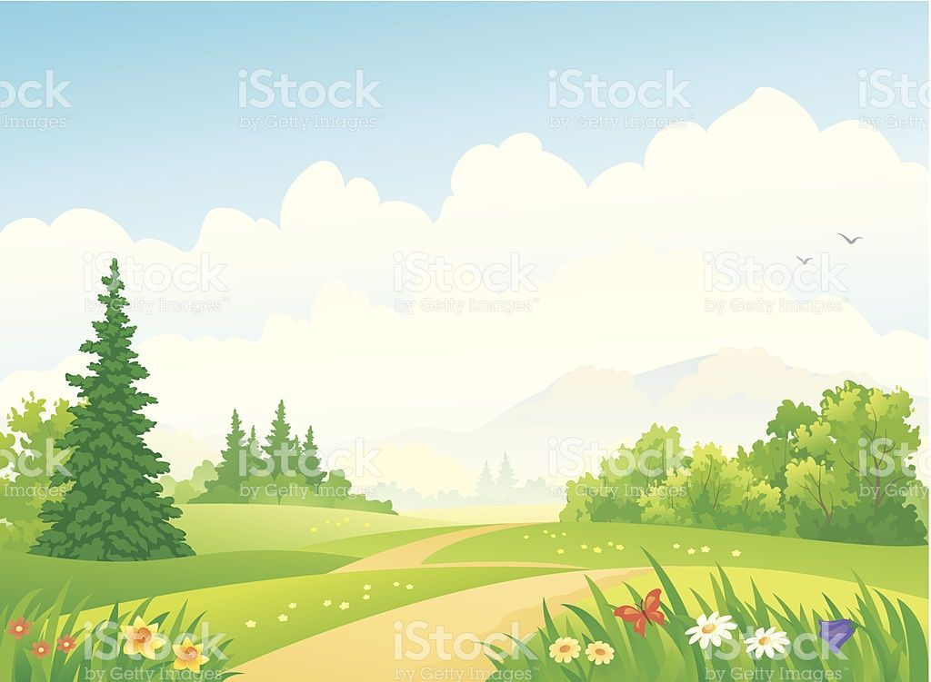 Vector illustration of a forest path at the mountains ...