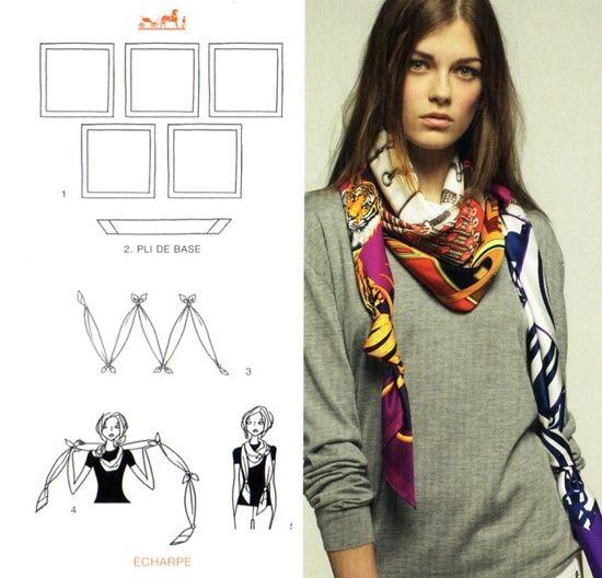 Hermes scarf knotting cards charpe hermes scarf - Hermes tuch binden ...
