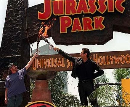 Steven Spielberg and Jeff Goldblum light the torches on ...