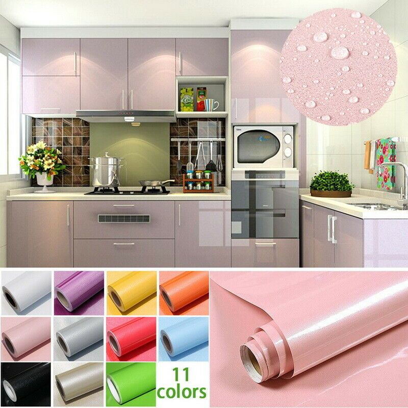 Wall Sticker Paper Kitchen Cabinet Refacing Film Self Adhesive Wallpaper 10color Bath Kitchen Cabinets Stickers Contact Paper Cabinets Kitchen Wall Stickers