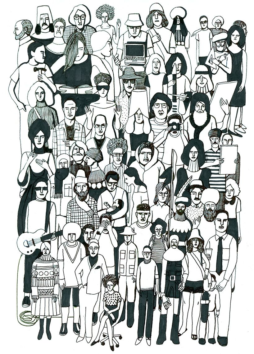 I love the ethnic diversity shown in this artwork.  Crowd by Geoff McFetridge.