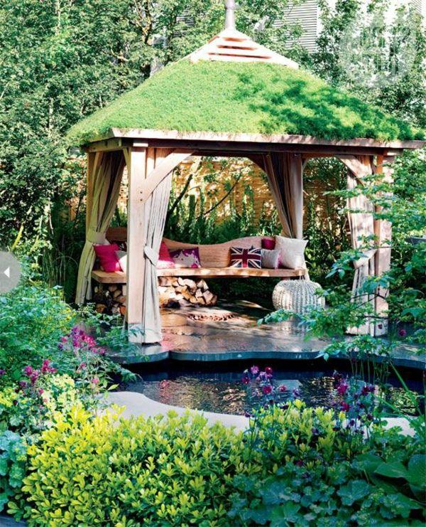 Trend gartenpavillon holz gardinen grasdach