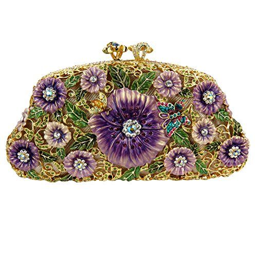 Gold Plated Purple floral Clutch with Swarovski Crystals