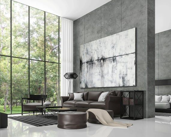 Large Black And White Wall Art Abstract Painting Modern
