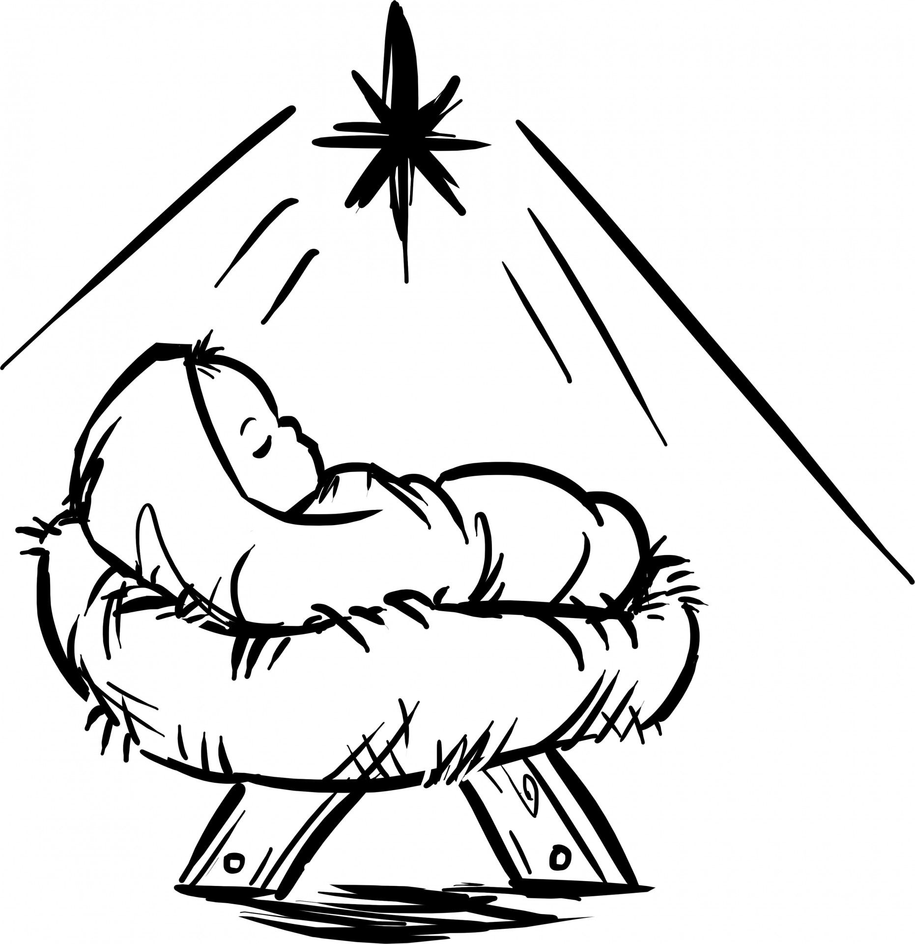 Baby Jesus Manger Scene Free Stock Photo Christmas Drawing