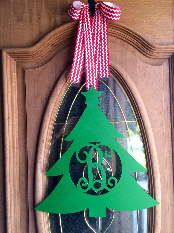 Christmas Tree Wood Monogram Door Decoration Holiday Wreath Wooden PersonalizedTree Door Decor Holiday Gift Teacher Gift Christmas Wreath by TheLetterBoutique on Etsy