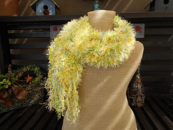 Photo of Hand Knit Scarf, Knit Scarf, Hand Knitted Scarves, Yellow Scarf