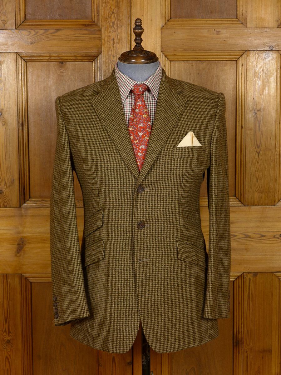 16/0805 immaculate vintage hackett custom tailored brown houndstooth check wool…