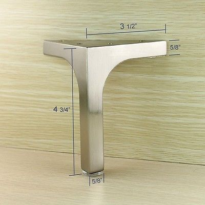 Furniture Cabinet Cupboard Metal Legs Table Feet Stainless Steel Square 4 Pcs