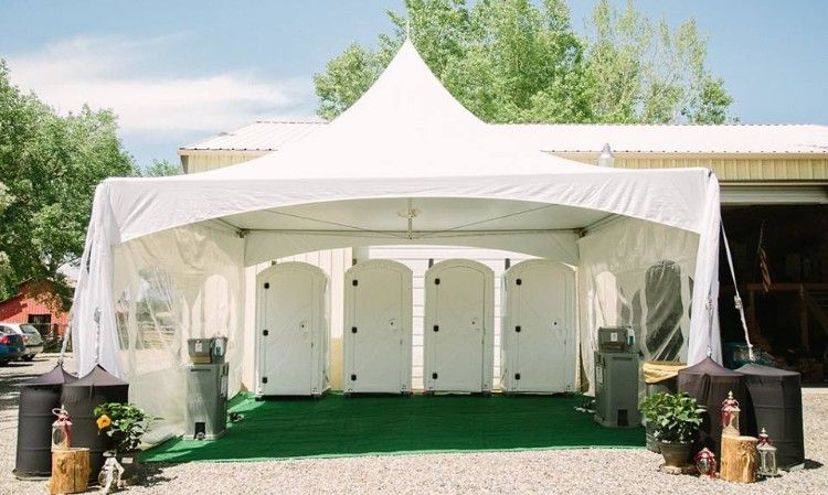 Another Way To Upgrade The Portable Toilets For A Special Event Wedding Restroom Summer Wedding Outdoor Romantic Wedding Venue