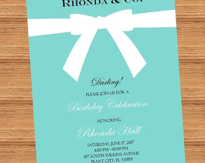tiffany themed birthday invitation elegant birthday invitation