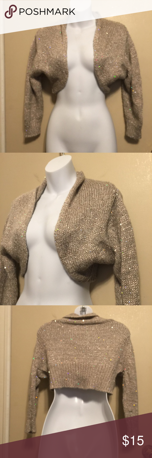 Charlotte Russe sparkly crop shrug sweater 28% wool, 26�rylic ...