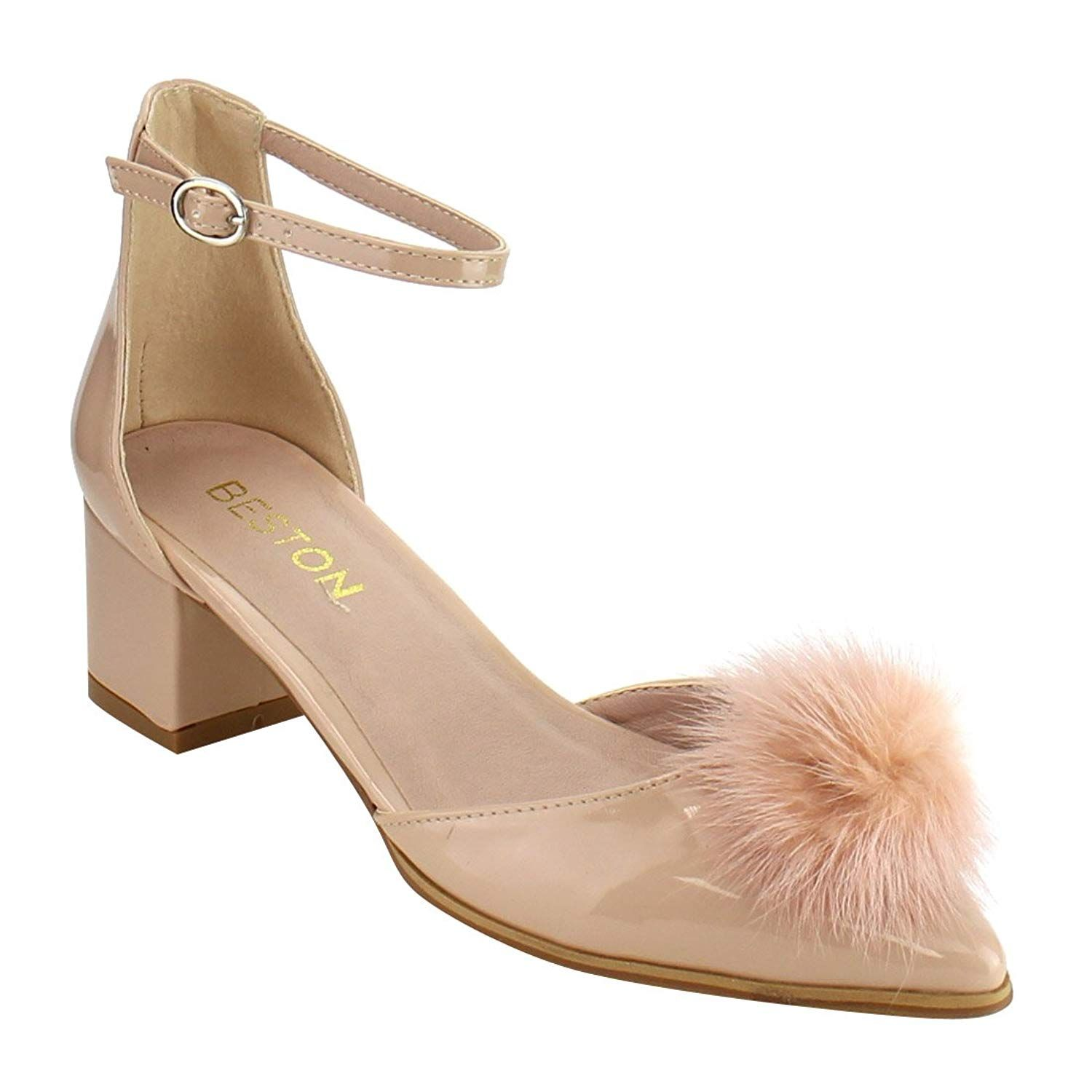 8371330f665 Ruiyue Sandals Women s Pom Pom Ankle Strap D Orsay Chunky Heel Dress Pumps.  These gorgeous pumps feature a pointy toe silhouette