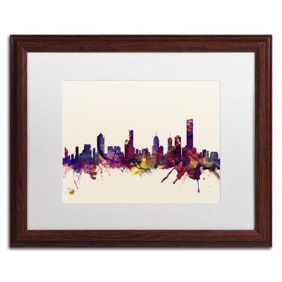 "Trademark Art ""Melbourne Skyline"" by Michael Tompsett Framed Graphic Art Size: 16"" H x 20"" W x 0.5"" D"