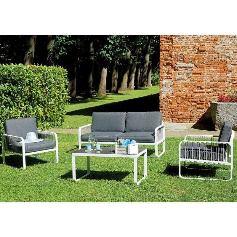 Coffee Set San Fruttuoso En Aluminium Et Corde Aluminium Mo Set 103 Outdoor Chairs Outdoor Furniture Sets Outdoor Furniture
