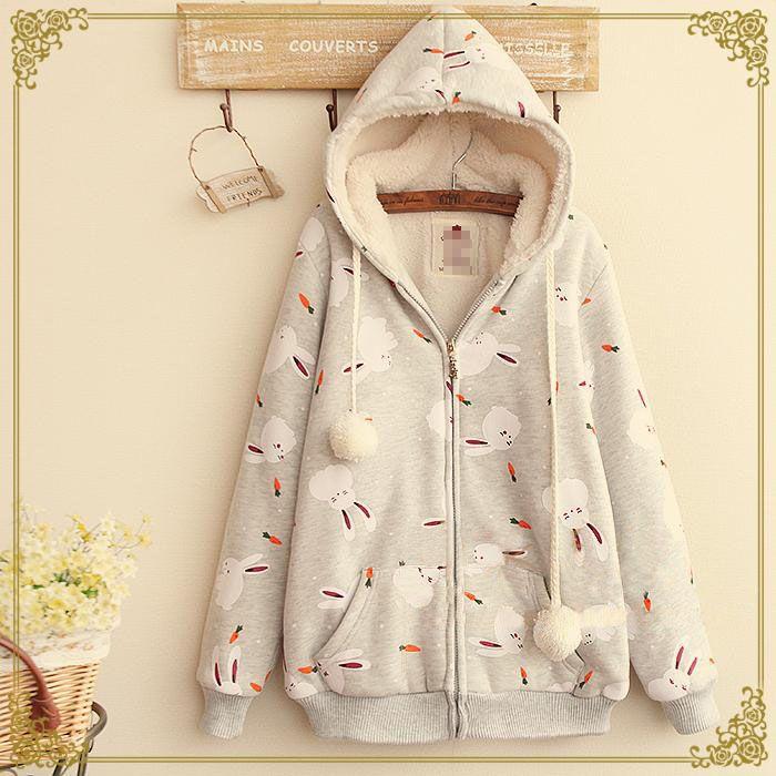 Japanese lovely rabbit carrots printing hooded coat from Fashion Kawaii [Japan & Korea] on Storenvy