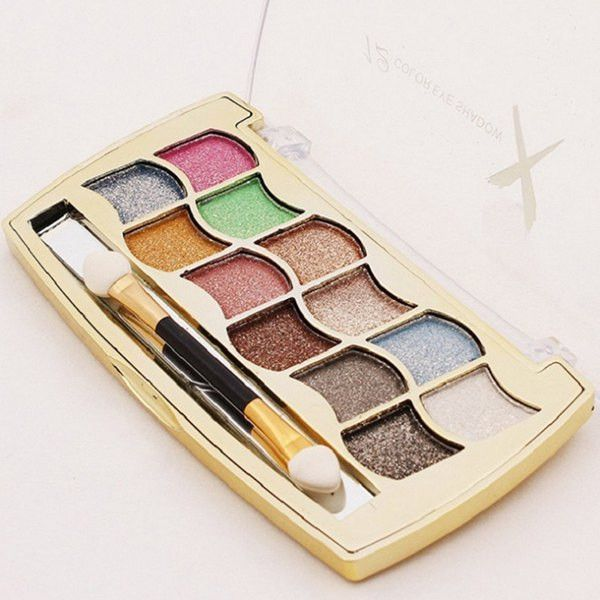 Practical 12 Colours Long Lasting Diamond Eyeshadow Palette with Mirror and Brush