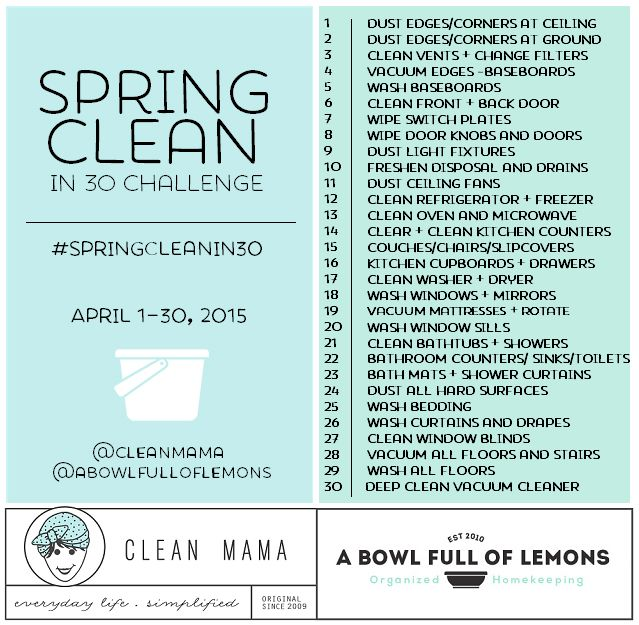 Spring Clean in 30 Challenge Spring, 30th and Organizing - spring cleaning checklist