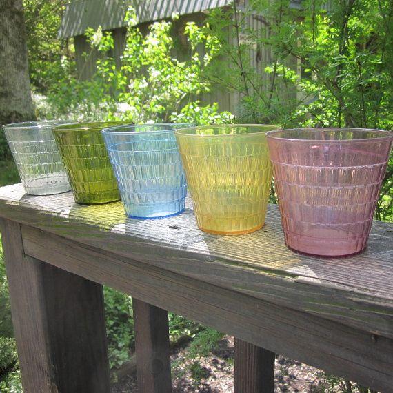 Vintage Plastic Tumblers  17 Oatmeal Glasses by SimplySuzula, $15.00