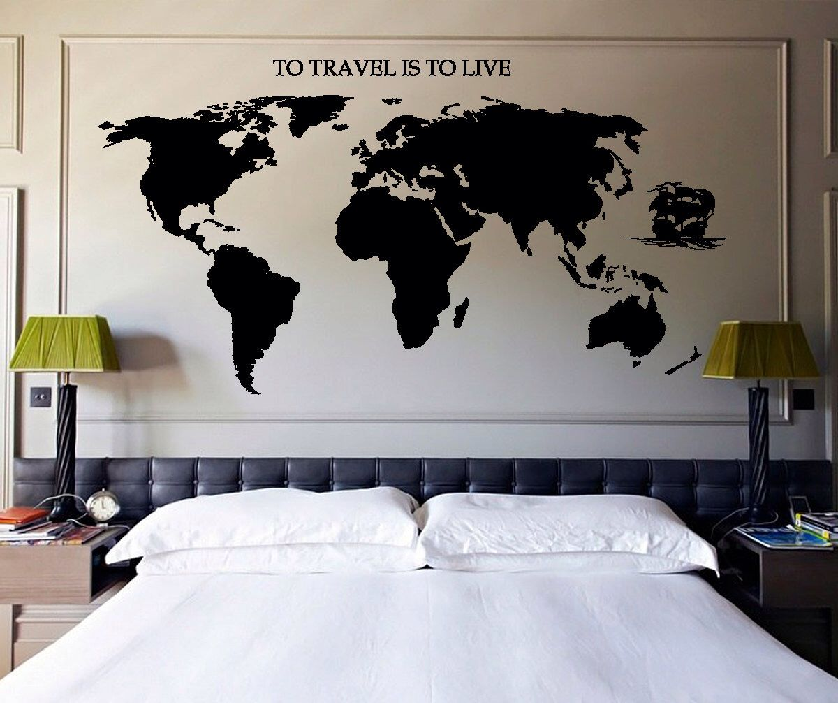 Wall decal travel world map ship quotes to travel is to live vinyl wall decal travel world map ship quotes to travel is to live vinyl z2835 gumiabroncs Image collections