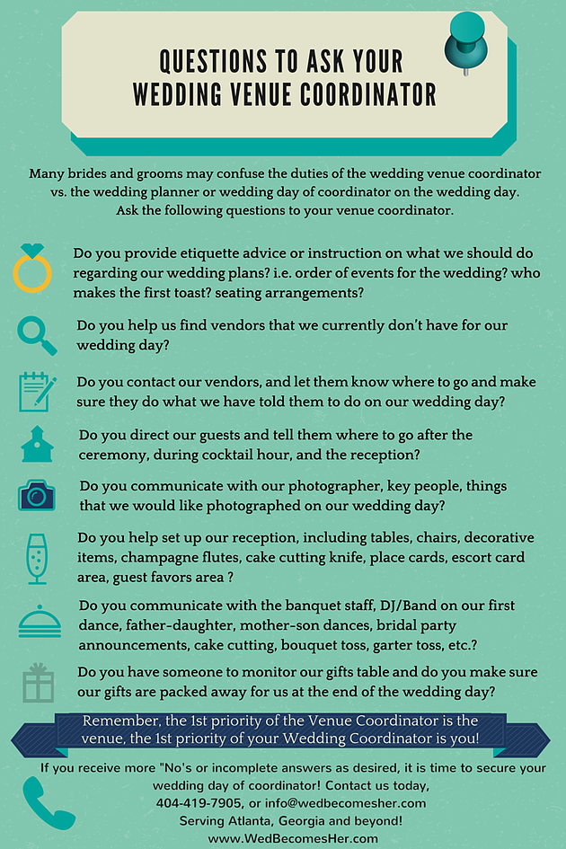 Questions To Ask Your Venue Coordinator Often Times Couples Do Not Know That The Is Wedding Day Of