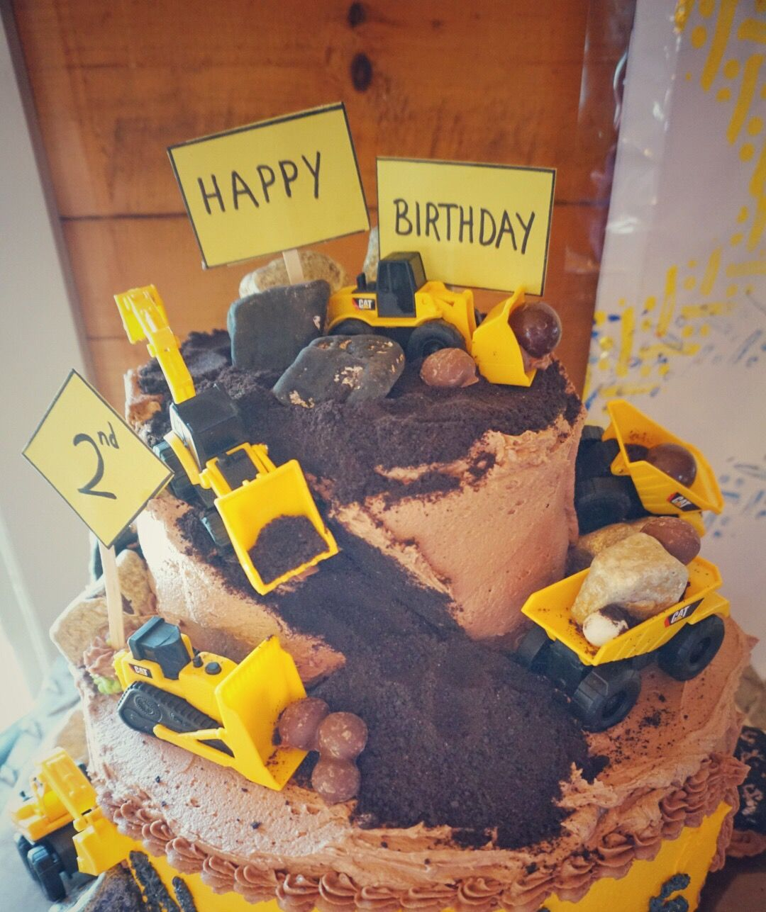 Construction Theme 2nd Birthday Party Dump Truck Cake Candy Rocks Cookie Crumb Dirt