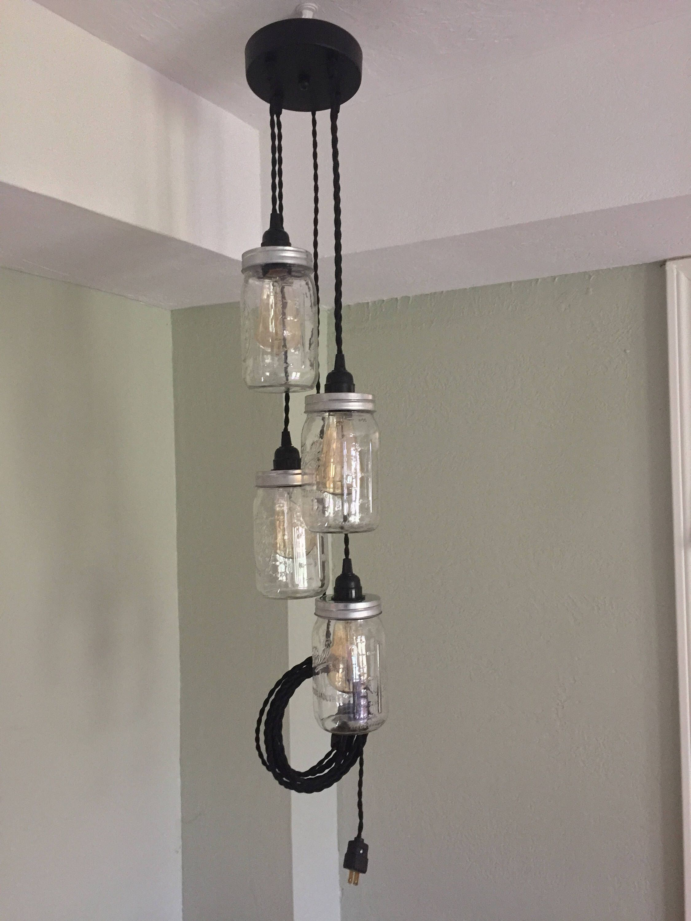 Jar chandelier swag light black canopy twisted cloth cord jar chandelier swag light black canopy twisted cloth cord hanging pendant lights plug in no hard wiring great for your edison bulbs arubaitofo Image collections