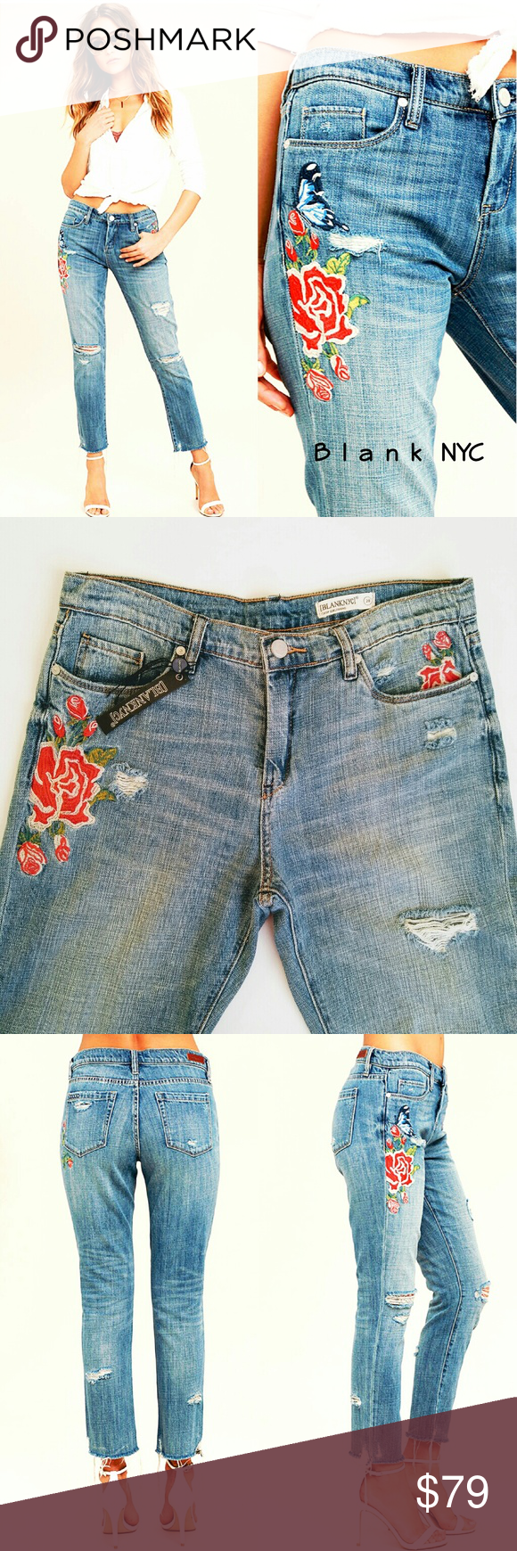 a732bdd8 Blank NYC | embroidered distressed jeans 28 Blank NYC crop girlfriend light  was embroidered jeans.