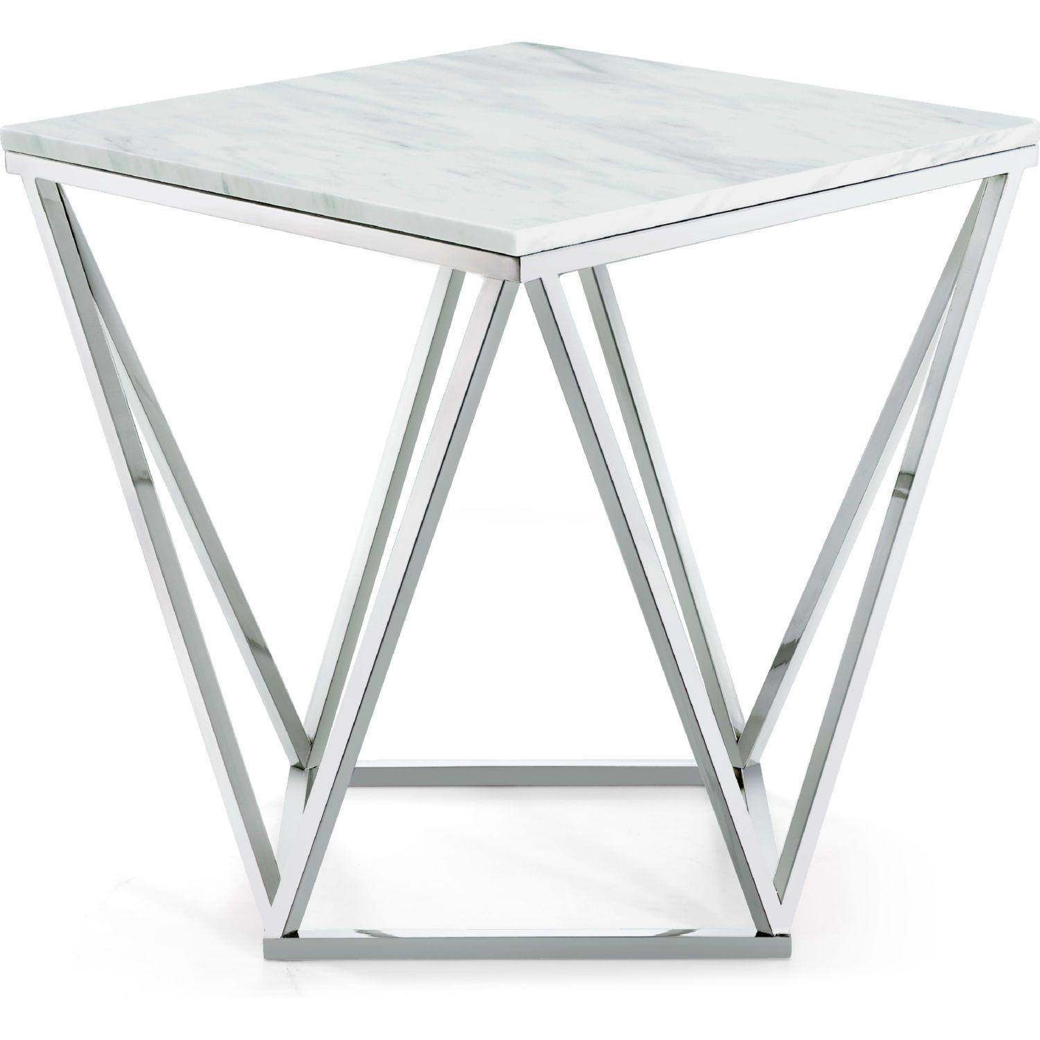 Skyler Chrome End Table In Chrome W Marble Top By Meridian