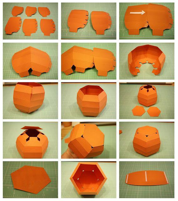 pumpkin template 3d  Bits of Paper: 6D Pumpkin Box! | Pumpkin template, Paper ...