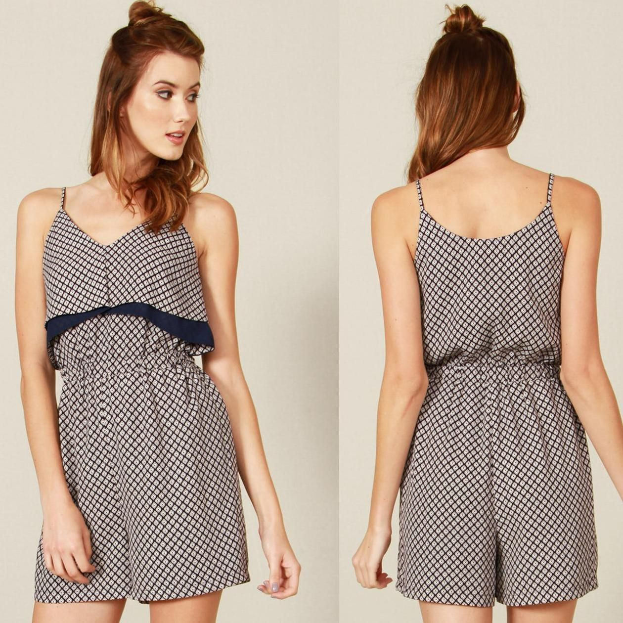 Navy abstract printed layered tank romper. Fully lined. Stretch band at waist. Side zipper closure. $64.00 100% Polyester