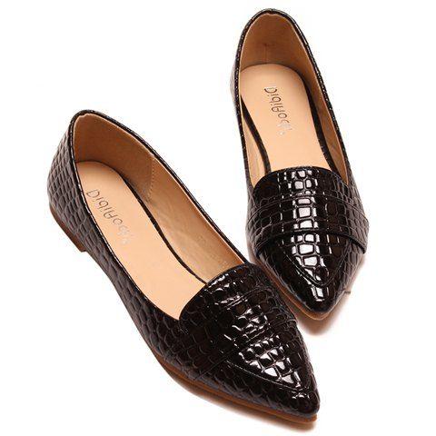 fa617b1fef6 Stylish Patent Leather and Crocodile Print Design Women s Flat Shoes Flats