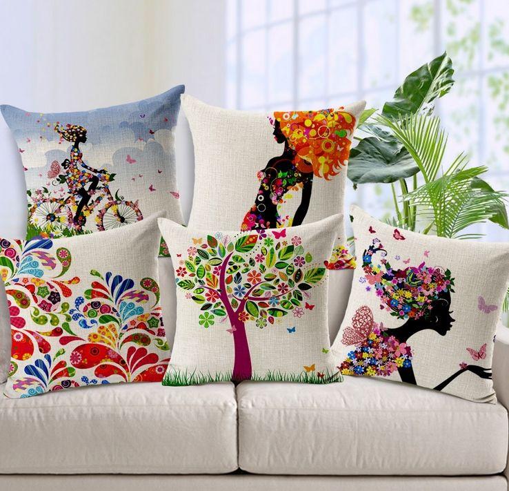 Set of 5 Colorful Pattern Cotton/Linen Decorative Pillow Cover