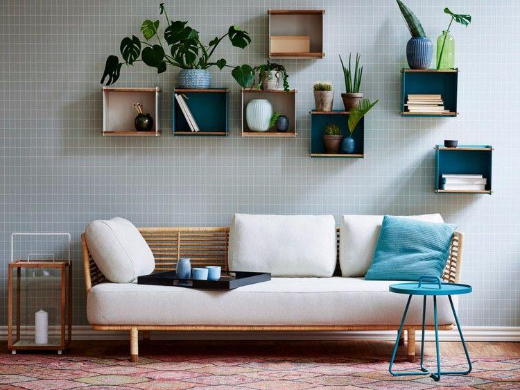 coole einrichtungsideen aufbewahrung wandregale bunt wohnzimmer - industrial chic wohnzimmer