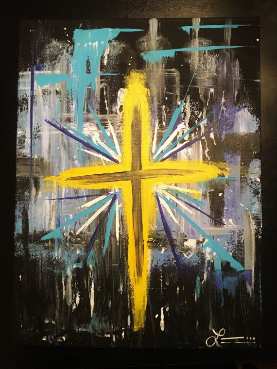Abstract Cross Canvas Painting by PaintingWithGrace on Etsy