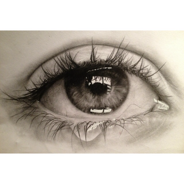 pencil drawing of crying eye in sketching by chloe tao. Black Bedroom Furniture Sets. Home Design Ideas