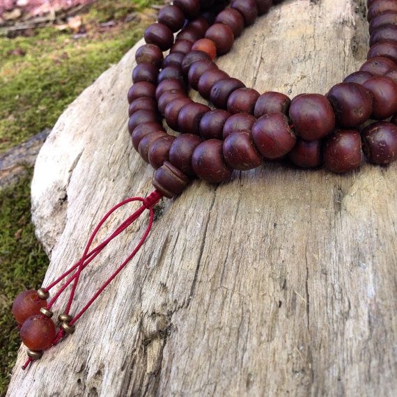 Bone Large Bodhi Seed And Vintage Recycled African Glass Traditional Tibetan Buddhist Mala Prayer Bead Ne Prayer Bead Necklaces Mala Prayer Beads African Glass