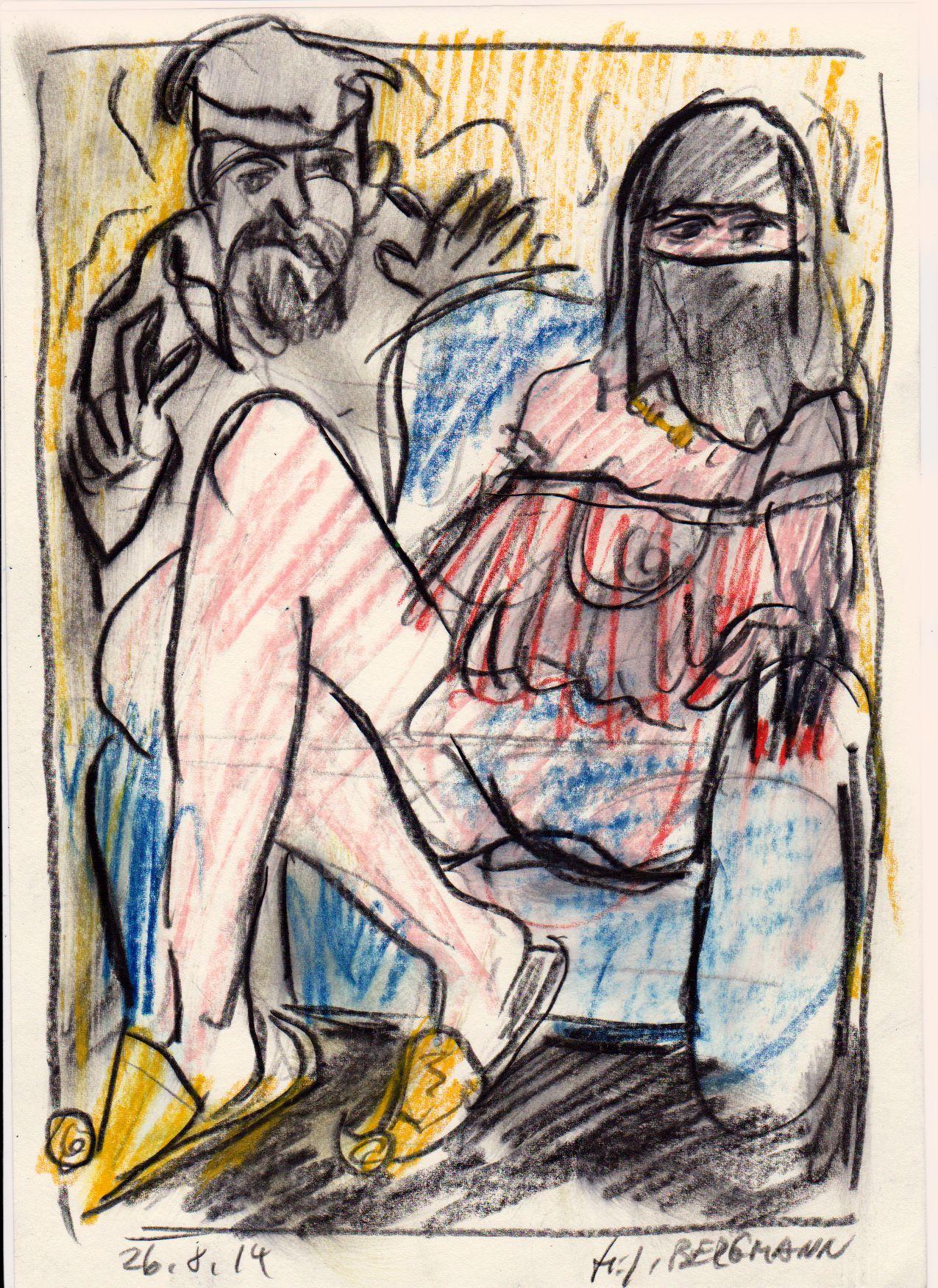 """Der Alte"" Drawing by H.-J. BERGMANN"