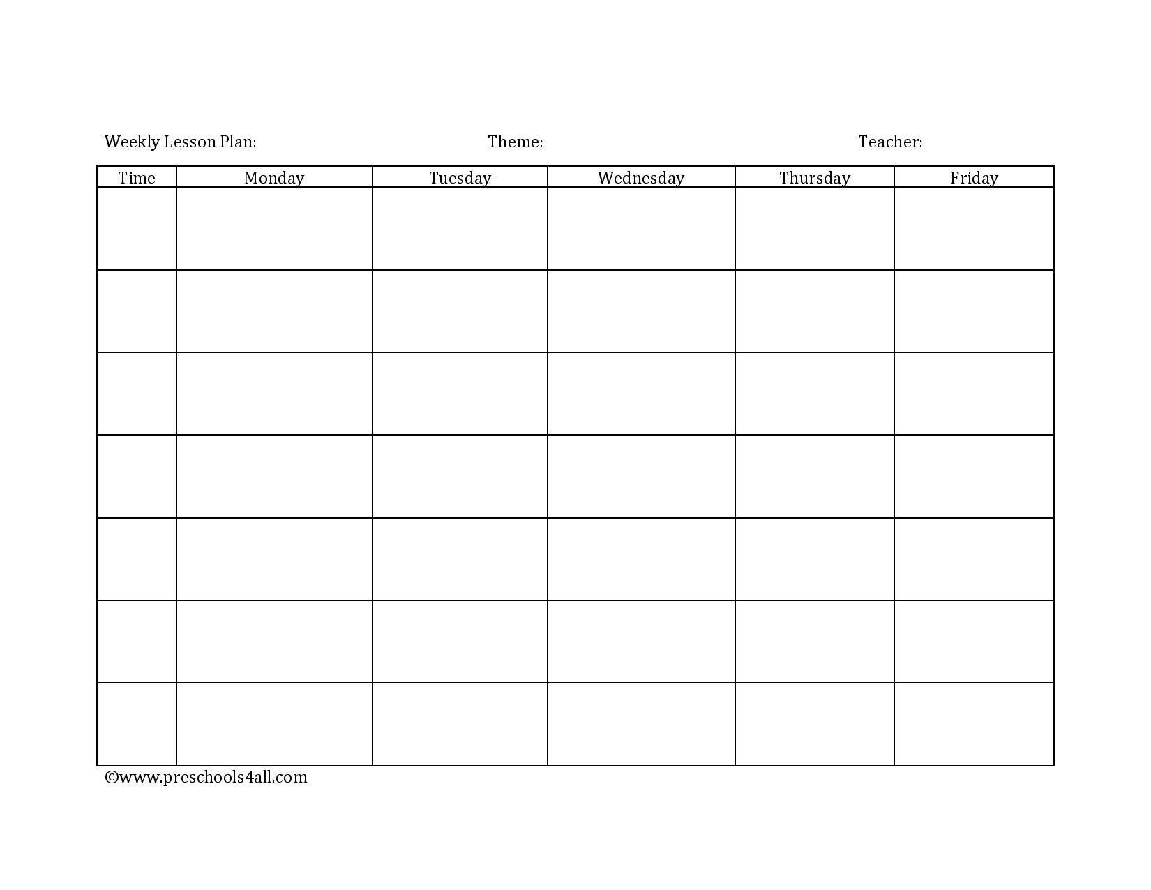 Preschool Lesson Plan Template Lesson Plan Book Template Within Blank Preschool Le Preschool Lesson Plan Template Lesson Plan Book Templates Lesson Plan Book Blank toddler lesson plan template