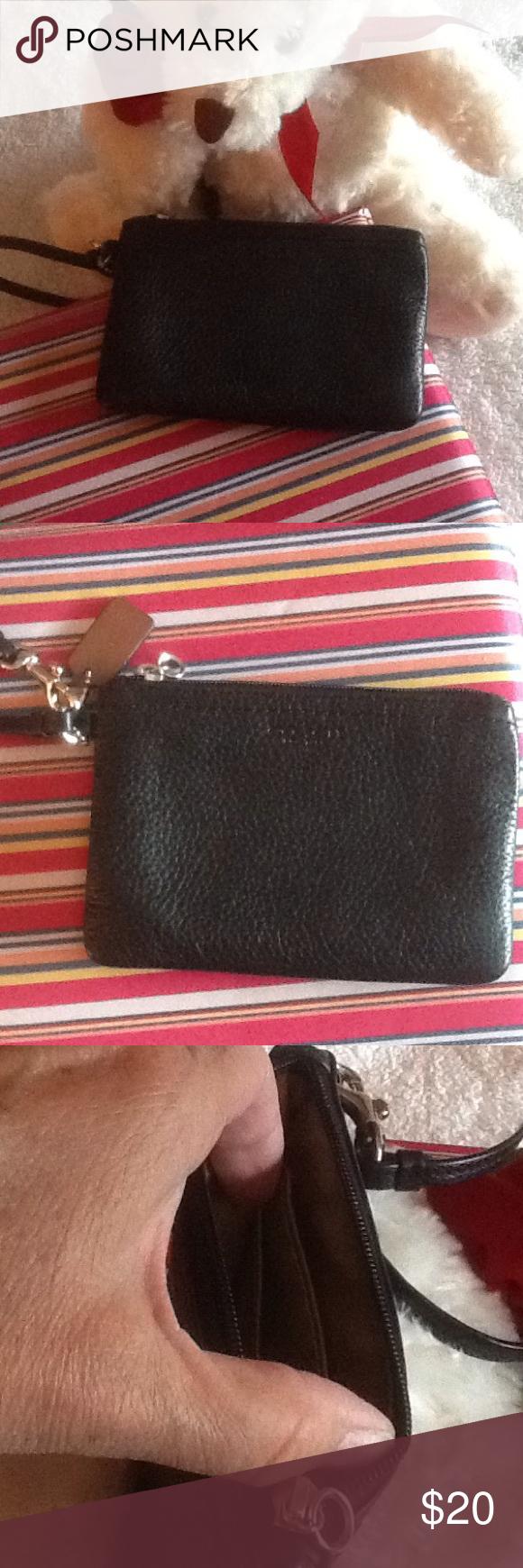 "Coach wristlet purse Black leather Coach with two inside slip pockets zipper close 6""x4"" Coach Bags Clutches & Wristlets"