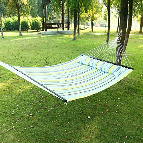 great camping hammock   sportneer double hammock quilted fabric double wide solid spreader bar for outdoor patio yardsportneer double hammock quilted fabric     great camping hammock   sportneer double hammock quilted fabric      rh   pinterest