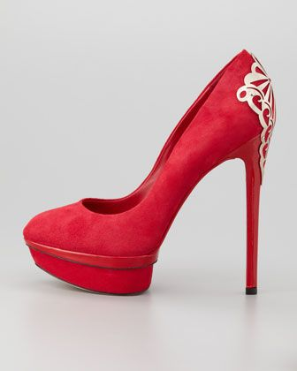 Love the pretty ornament on the back - B Brian Atwood Fashina Platform Pump, Red - Neiman Marcus