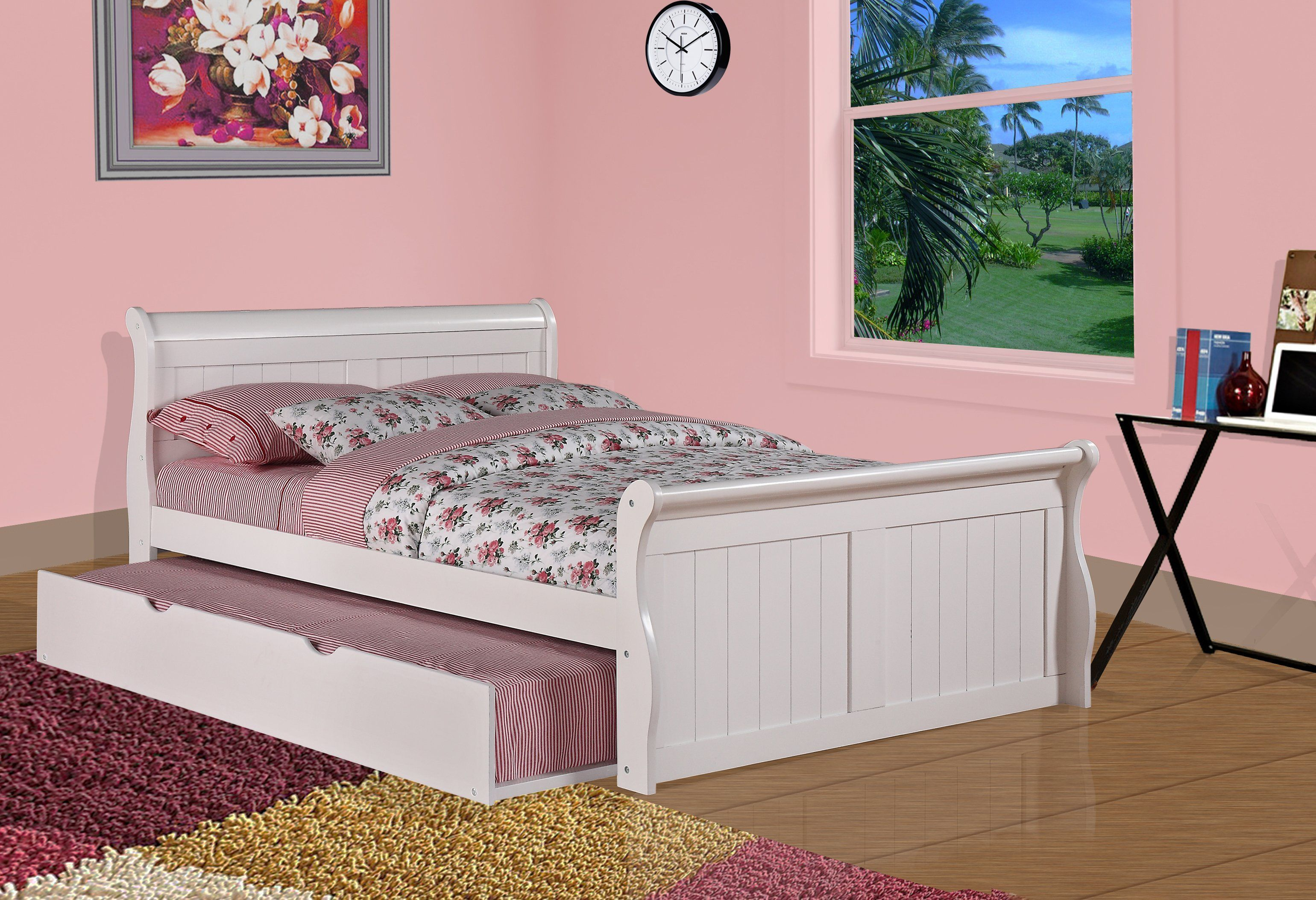 Donco Kids White Pine Wood Full Sleigh Bed with Trundle or