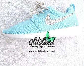 NEW Swarovski Nike Womens Blue / Grey  Roshe blinged with
