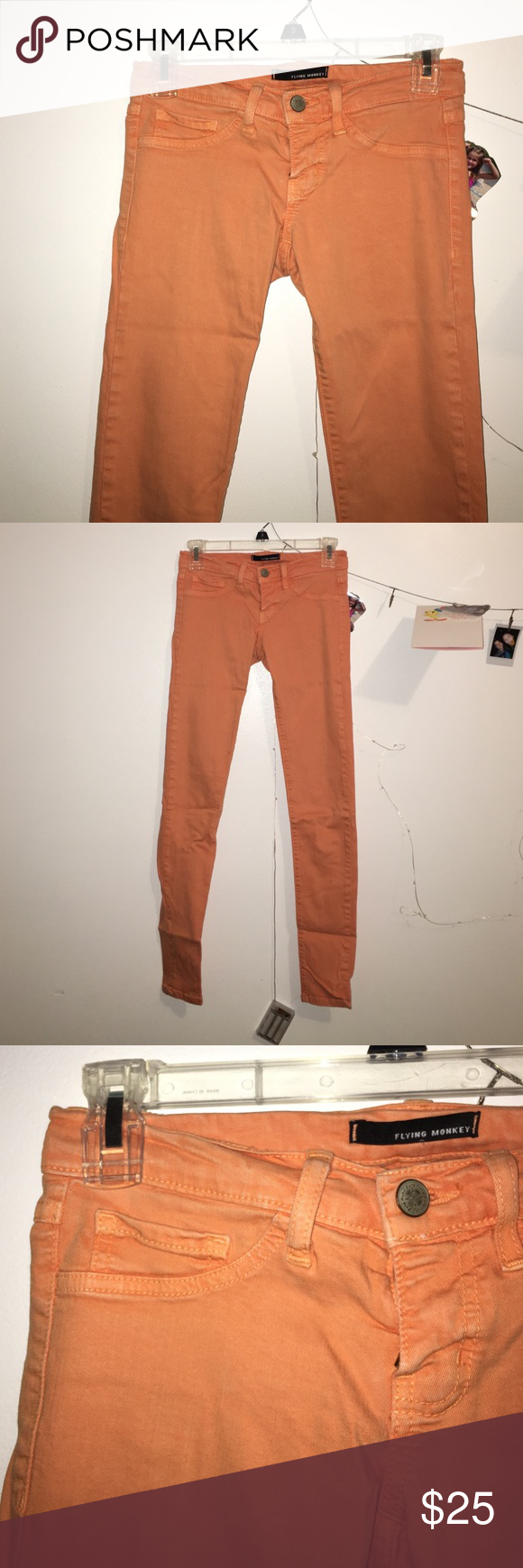 Flying Monkey Skinny Jeans orange, stretchy and very comfortable. perfect condition Flying Monkey Pants Skinny