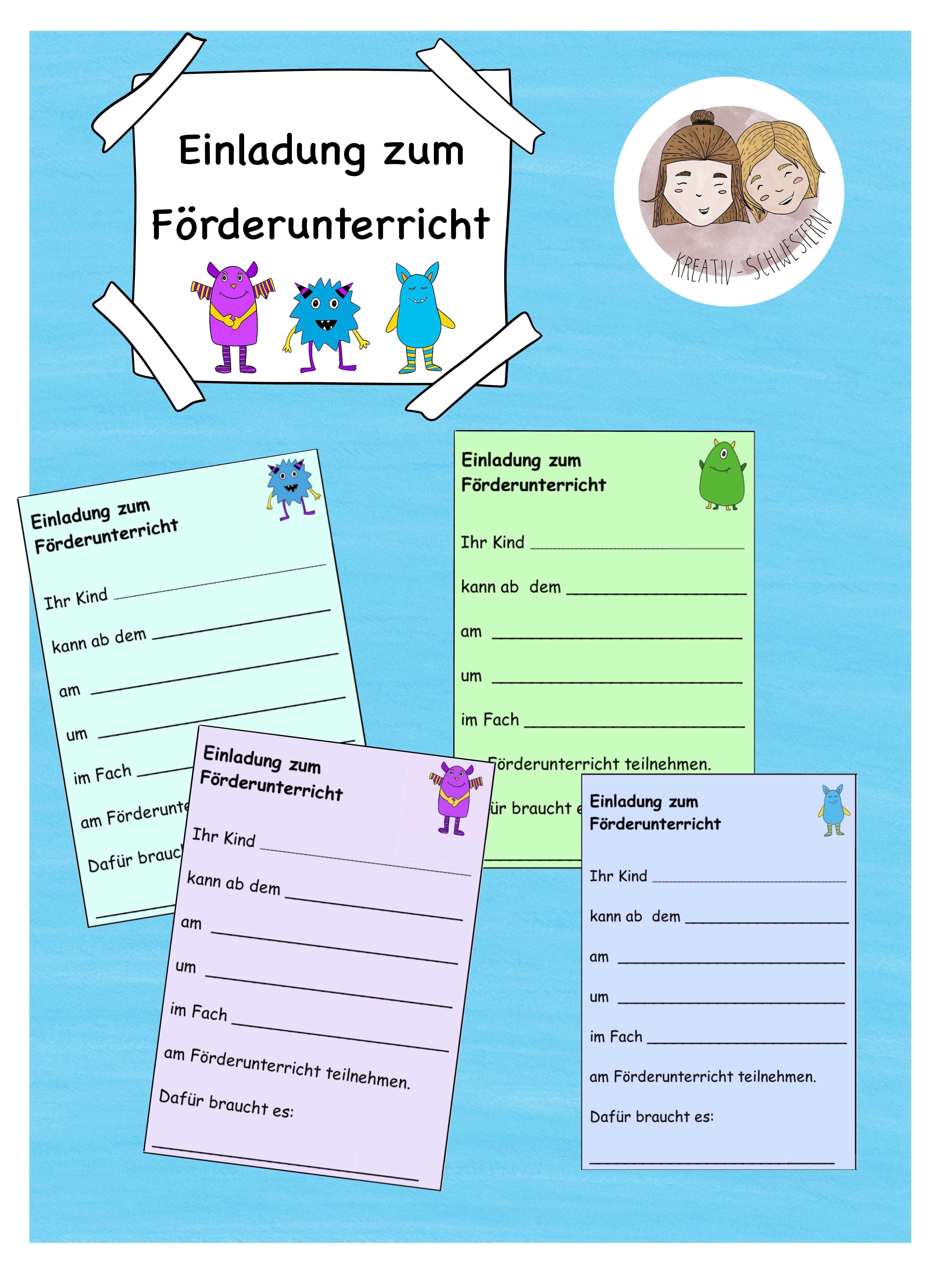 Kostenlose Elterninformation; Einladung zum Förderunterricht ...